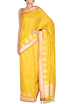Yellow Handwoven Banarasi Saree by Ekaya