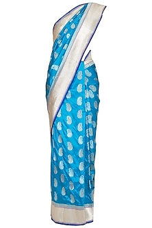 Blue Handwoven Banarasi Silk Saree by Ekaya