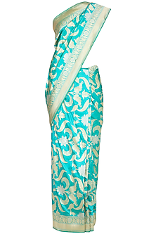 Aqua Green Handwoven Silk Saree by Ekaya