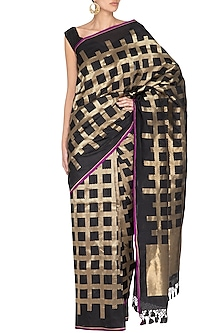 Black Handwoven Banarasi Saree by Ekaya