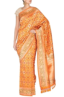 Orange Handwoven Banarasi Saree by Ekaya