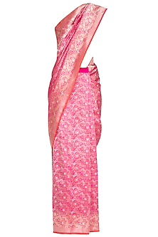 Pink Handwoven Banarasi Silk Saree by Ekaya
