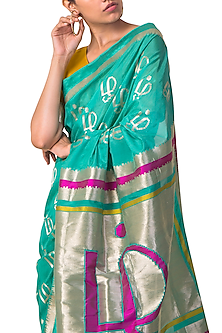 Mint Handwoven Saree Set by Ekaya X Masaba