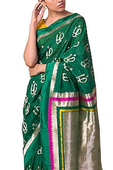 Emerald Green Tamil Motif Handwoven Saree Set by Ekaya X Masaba