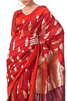 Red Handwoven Saree Set by Ekaya X Masaba