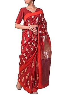 Red Handwoven Saree Set by Ekaya X Masaba