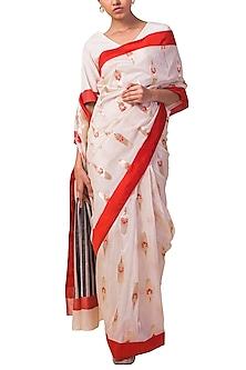 Ivory Handwoven Saree Set by Ekaya X Masaba