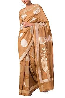Almond Beige Handwoven Saree Set by Ekaya X Masaba