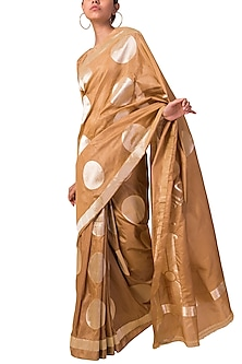 Almond Beige Handwoven Saree Set by Ekaya X Masaba