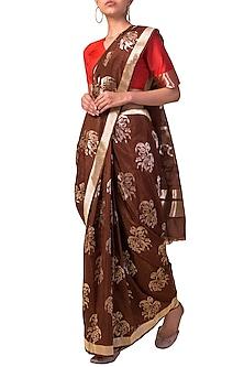 Brown Handwoven Saree Set by Ekaya X Masaba