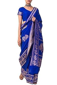 Deep Blue Handwoven Saree Set by Ekaya X Masaba