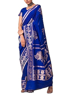 Deep Blue Handwoven Saree Set by Ekaya X Masaba