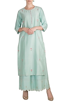 Sky Blue Embroidered Kurta With Scallop Palazzo Pants by Label Earthen