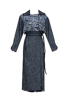 Dirty Blue Texture Body Trench Coat by Kanelle