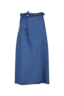Medium Blue Button Up Midi Skirt