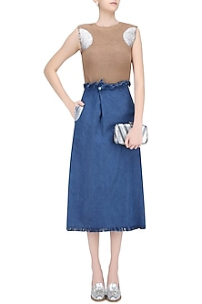 Medium Blue Button Up Midi Skirt by Kanelle