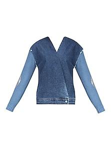 Medium Blue Knee Sleeves Wrap Shirt by Kanelle