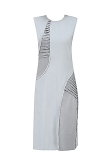 Light Grey Pleat Stream Dress