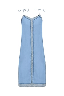 Light Blue Texture Tie Up Slip Dress