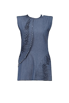 Dirty Blue Twisted Pleat Top by Kanelle
