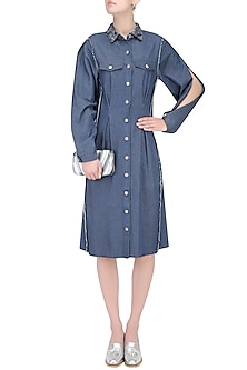 Dirty Blue Shirt Dress by Kanelle