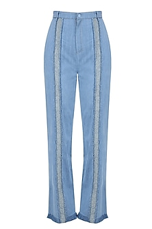 Light Blue Texture Deatil Trouser Pants