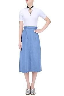 Light Blue Pleated Belt Skirt by Kanelle