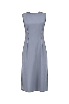 Grey Side Textured Mesh Detail Dress