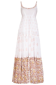 White Block Printed Embroidered Maxi Dress by Esha Koul