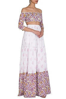 White Block Printed Off Shoulder Crop Top With Skirt by Esha Koul