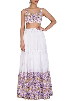 White Block Printed Crop Top With Skirt by Esha Koul