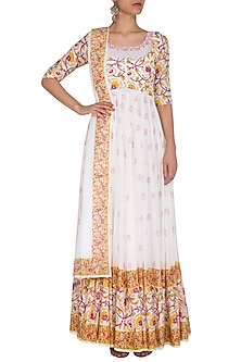 White Block Printed & Embroidered Anarkali Jacket With Dupatta by Esha Koul
