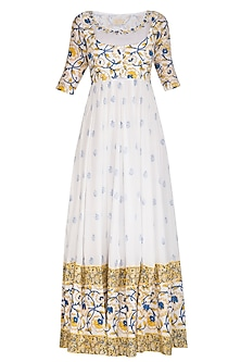 White Block Printed Embroidered Anarkali Jacket With Dupatta by Esha Koul