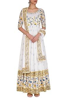 White Block Printed Embroidered Anarkali Jacket With Dupatta by Esha Koul