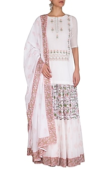 White Block Printed Embroidered Sharara Set by Esha Koul