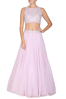 Lavender Embroidered Crop Top With Lehenga Skirt by Esha Koul