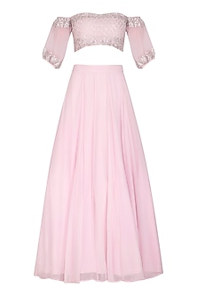 Blush Pink Embroidered Lehenga Set by Esha Koul