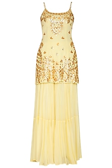 Yellow Embroidered Sharara Set by Esha Koul