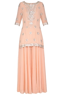 Peach Embroidered Sharara Set by Esha Koul