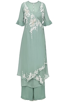 Sage Green Embroidered Asymmetrical Kurta with Inner and Palazzo Pants