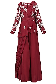 Red Embroidered Jacket with Jumpsuit and Drape Dupatta