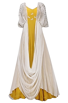 Mustard Yellow Embroidered Anarkali Gown with Ivory Kaftan