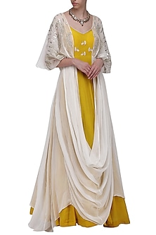 Mustard Yellow Embroidered Anarkali Gown with Ivory Kaftan by Ek Soot