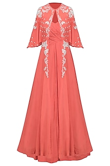 Coral Ruched Anarkali Gown with Embroidered Cape