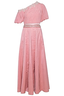 Pink embroidered pleated top with skirt by Eshaani Jayaswal