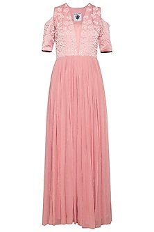 Brandy rose embroidered anarkali gown set