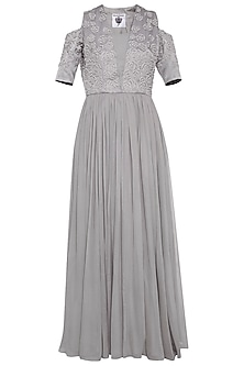 Grey embroidered anarkali gown set