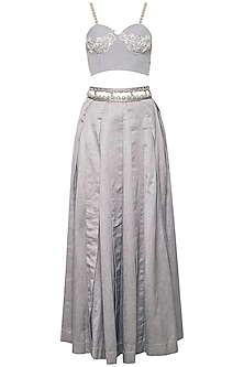 Grey embroidered corset lehenga set