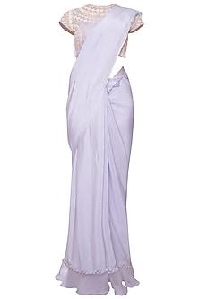 Lavender embroidered ruffle saree set by Eshaani Jayaswal