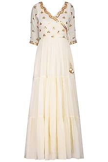 Off White Embroidered Anarkali